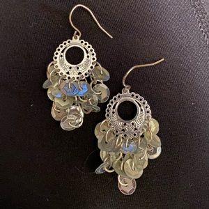 Silver tone sequin earrings